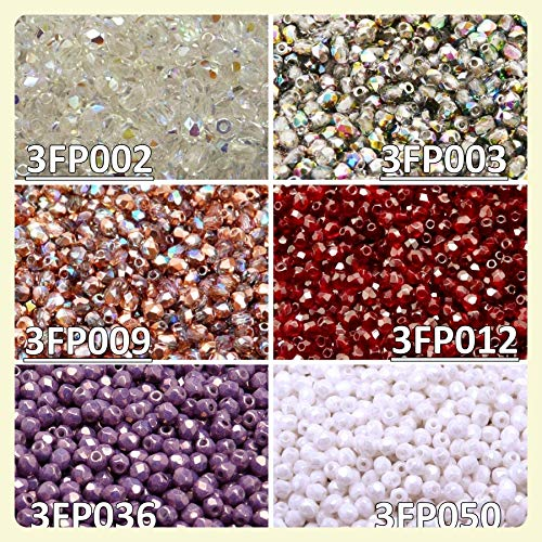 600 beads 6 colors Unique Set 316 Czech Fire-Polished Faceted Glass Beads Round 3 mm, 3FP002 3FP003 3FP009 3FP012 3FP036 3FP050 -