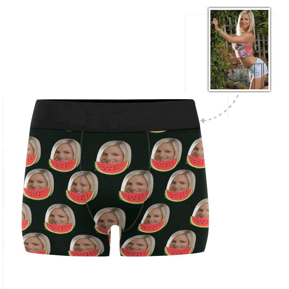 Custom Face Boxer Briefs Summer Watermelon Mens Underwear with Photo XS-3XL