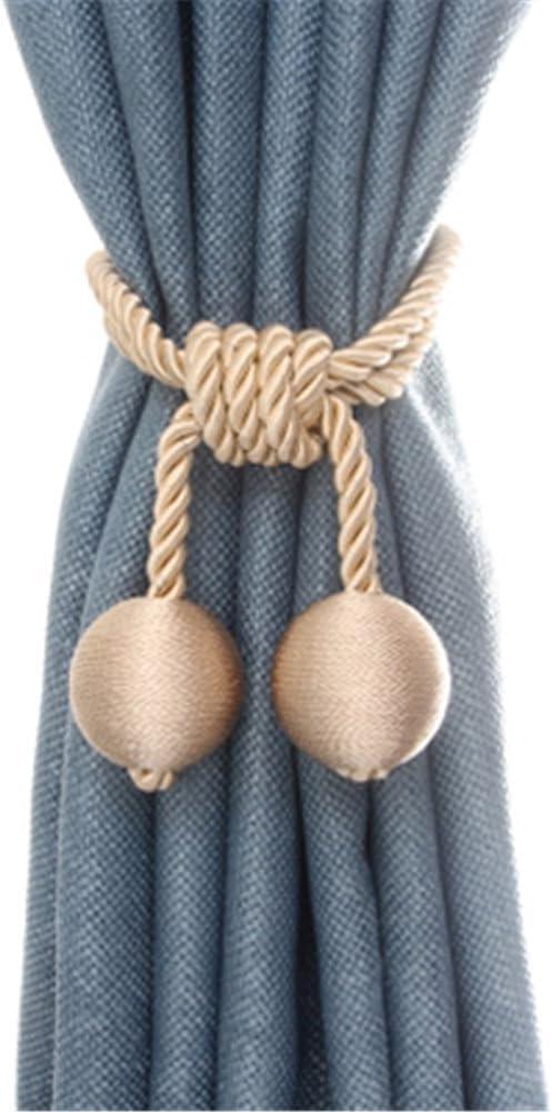 NICETOWN Curtain Tiebacks Decorative Rope Holdbacks Set of 2, 30 Inches Length, Gery Convenient Hand Knitting Buckle Cord Drape Tie Backs for Window Curtain D/écor