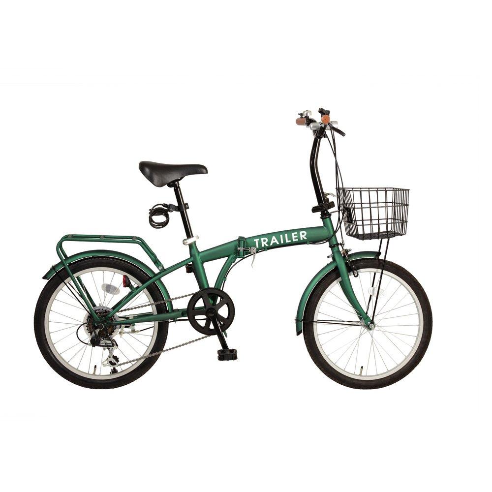 TRAILER(トレイラー) 20インチカラフル折りたたみ自転車 シマノ6段変速 カゴ/ワイヤーロック/LEDライト付 BGC-F20-GR GR B00MDETY4E