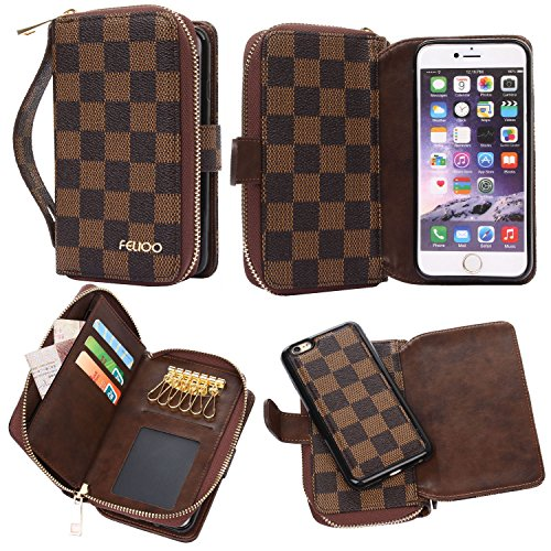 iPhone 6 Plus Case,GX-LV iPhone 6s Plus Case Luxury 2 in1 Design Multi-functional Leather Wallet Card Slots Case Cover Handbag with Keychains for iPhone 6 Plus/iPhone 6s (Chain Plaid Cover)