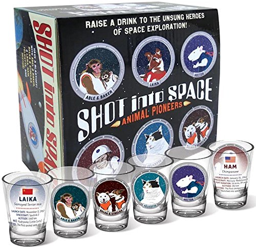 Shot Into Space - 6 Piece Shot Glass Set of Famous Animal Space Pioneers Comes in a Colorful Gift Box - by The Unemployed Philosophers