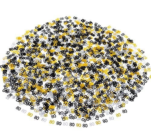 80th BIRTHDAY and ANNIVERSARY CONFETTI - 1.7 Oz | Gold Black and Silver 80 Number Confetti | 80th Birthday Party Supplies | Metallic Foil Confetti for Table Decorations for $<!--$8.88-->