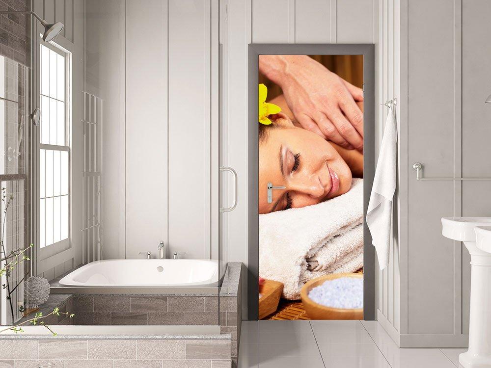 GRAZDesign Fototapete Massage-Praxis - Türfolie Wellness - Türaufkleber Badezimmer-Tür - Türtapete Zimmertüren   80x213cm   791140_80x213