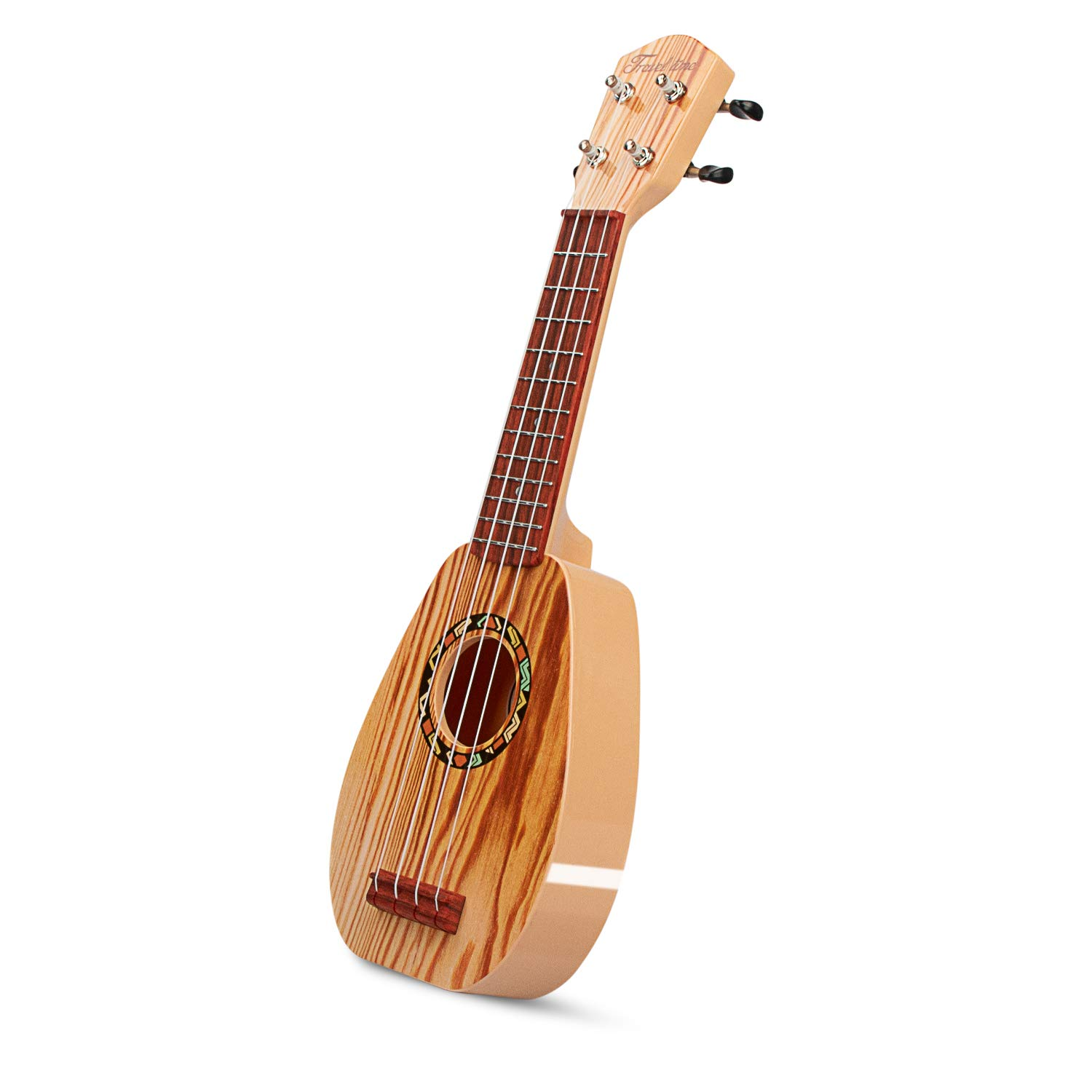 aPerfectLife 17'' Kids Ukulele Guitar Toy 4 Strings Mini Guitar Children Musical Instruments Educational Learning Toys with Picks and Strap for Toddler Kids Boys Girls Beginner Starter (Wooden)