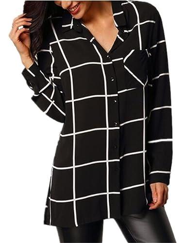 Tayaho Mujer Camiseta Blusa Mangas Largas Casual Elegante A Rayas Enrejado Camisa Blouses T Shirt