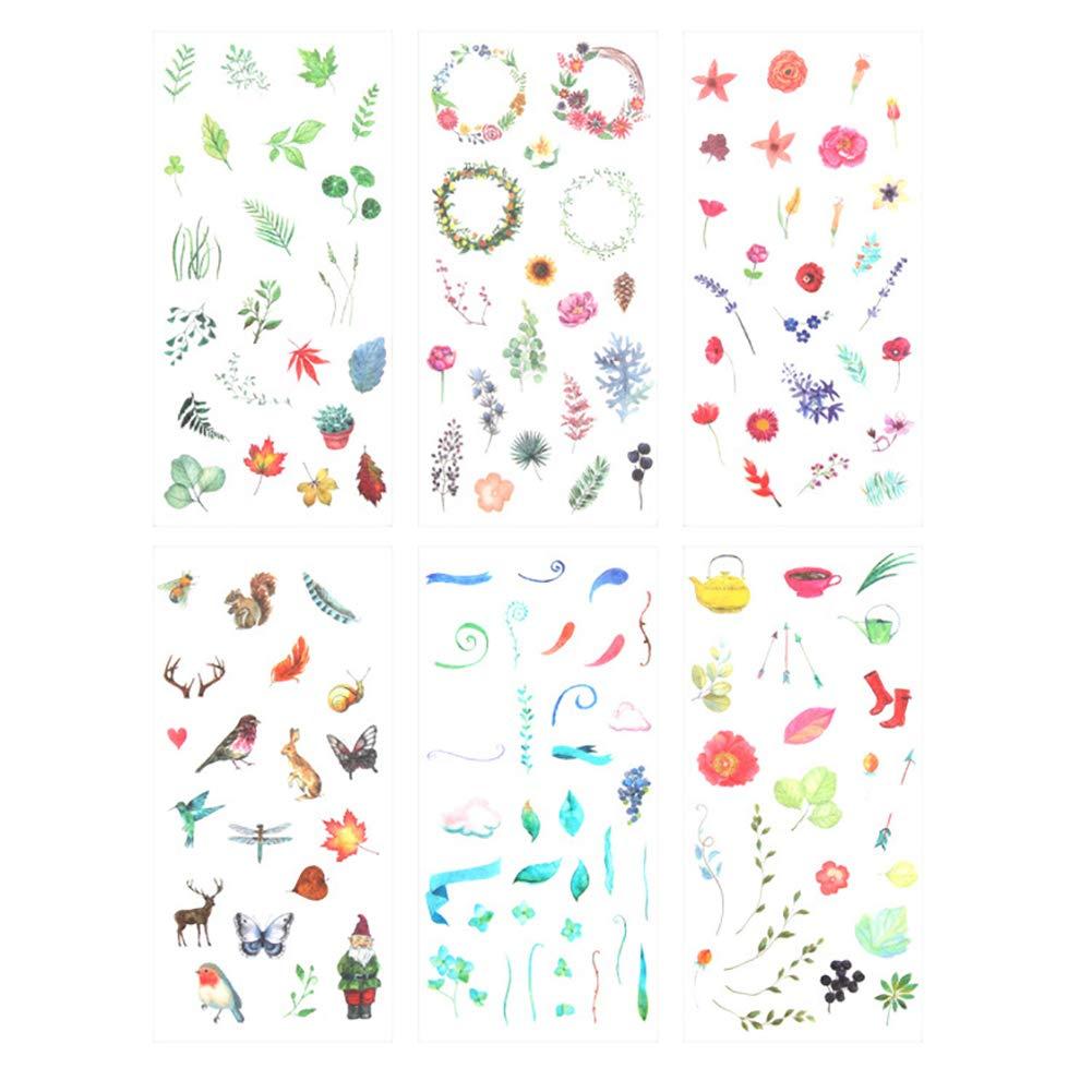 DaoRier PVC Aufkleber Adhesive Pflanzen Tiere Tagebuch Sticker Fotoalbum DIY Sticker fü r Laptop Bü cher Skateboard Gepä ck Dekoration