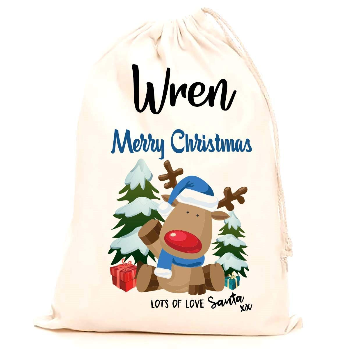 Treat Me Suite Wren personalised name Christmas santa sack, stocking printed with a blue reindeer (75x50cm) 100% Cotton Large. Children, Kids, making it the perfect keepsake xmas gift/present. CS Printing Limited