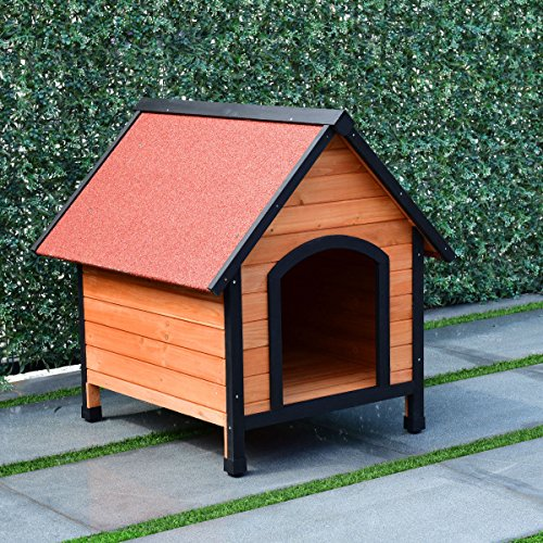 TANGKULA Dog House Outdoor Weather Waterproof Pet House Wood Pet Kennel Natural Wooden Dog House Home with Reddish Brown Roof 3 Size(S/M/L)