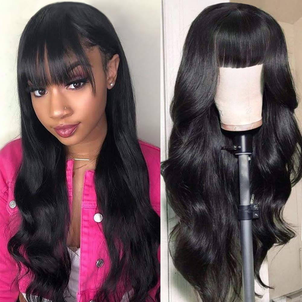 Fashion Plus Brazilian Virgin Body Wave Human Hair Wigs With Bangs 130 Density None Lace Front Wigs Glueless Machine Made Wigs For Black Women Natural Color 26 Inch Body Wave Wig Bangs Beauty Amazon Com