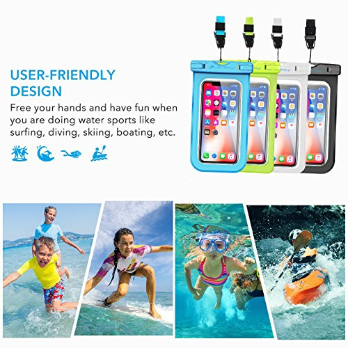 Firstbuy Universal Waterproof Case Waterproof Phone Pouch IPX8 Dry Bag For iPhone 8/7/7 Plus/6S/6/6S Plus/SE/5S, Samsung Galaxy S8/S8 Plus/Note 8 6 5 4, Google Pixel 2 HTC LG Sony MOTO - 4 Pack by Firstbuy (Image #5)