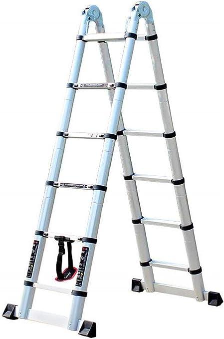 BAOFI Escalera telescópica Aluminio Plegable y Multiusos, de 3,2 m, para Exteriores e Interiores (1,6 m + 1,6 m): Amazon.es: Hogar
