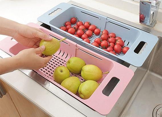Chytaii Panier de Vidange Panier /à L/égumes Fruits T/élescopable Passoire en Plastique Panier de Rangement Cuisine Multifonctionnel