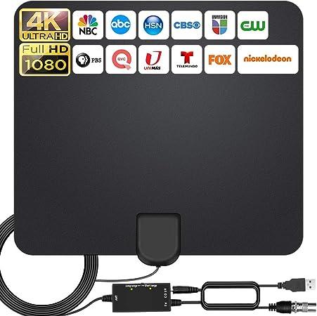 2021 Más Nuevo Antena Interior TV,280KM Alcance con Amplificador de Señal Antena de TV Digital HD para Interiores,Gratuita con Cable Coaxial de 5M, 4K ...