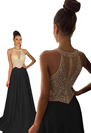 Dressytailor Women s Halter A-line Long Chiffon Prom Dress Beaded Formal  Evening Gown Black c85e37b08220