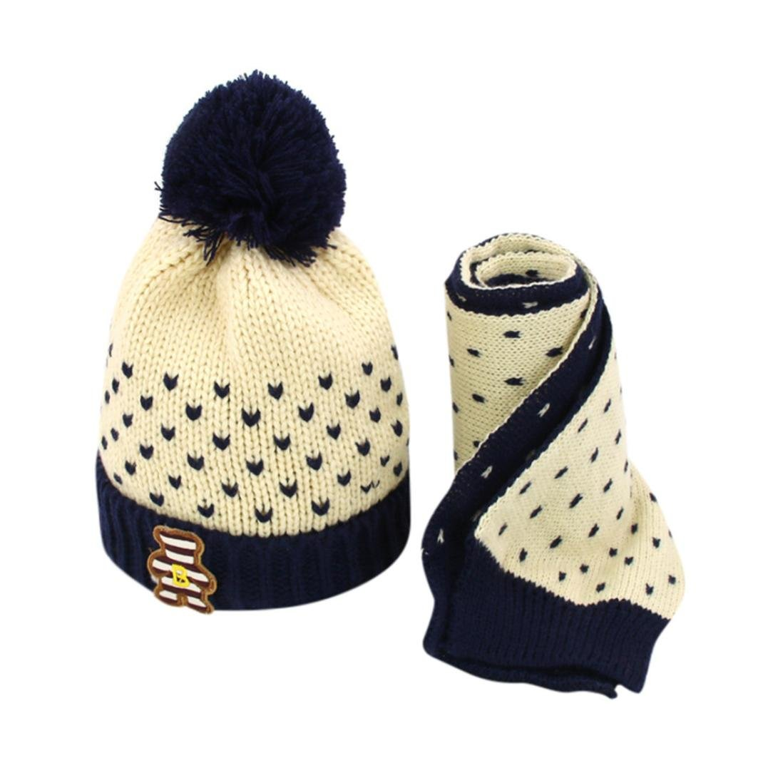 8735f870b1e Amazon.com  Forevv Hat Forevv For 2-6Years Old Baby Boys Girls Knitted Crochet  Beanie Winter Hat+Scarf 2Pcs Set (Beige