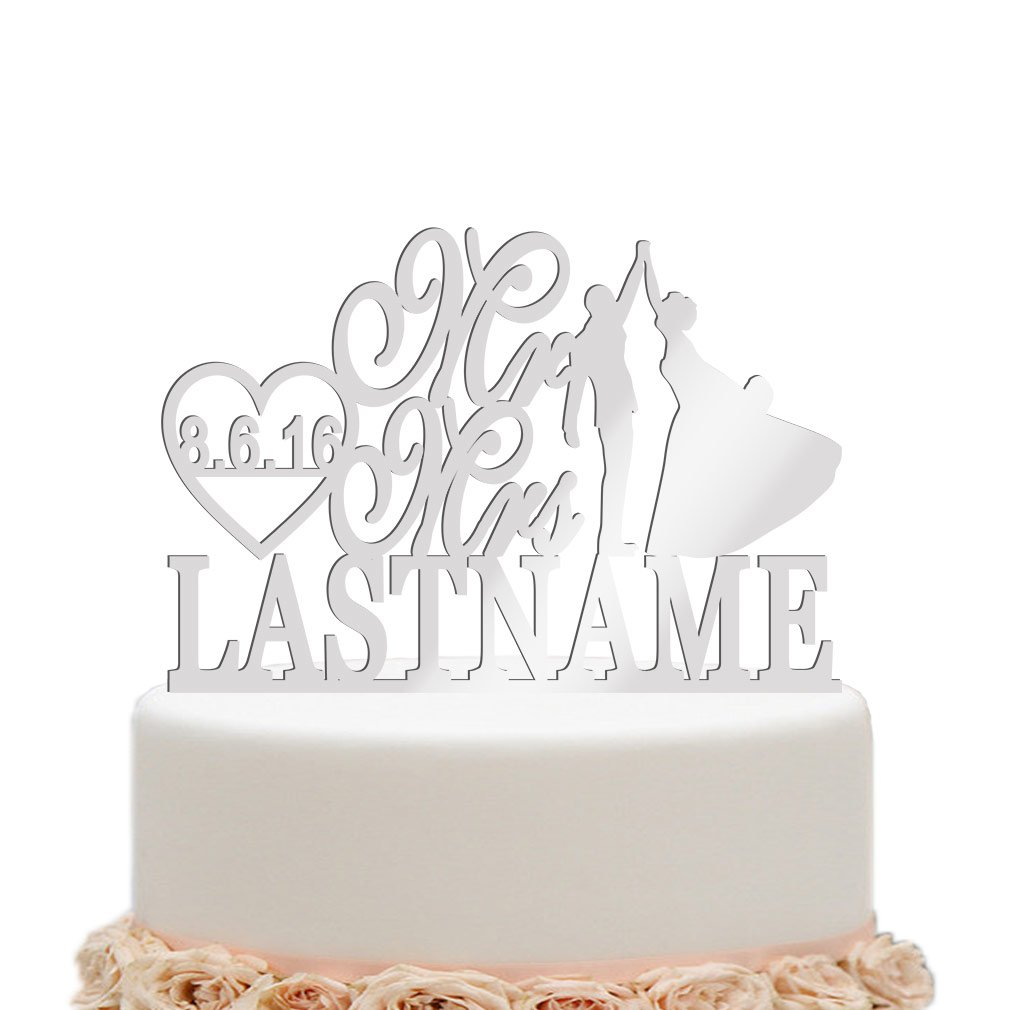ivisi Personalized Wedding Cake Topper Funny Decoration (Silver Mirror)