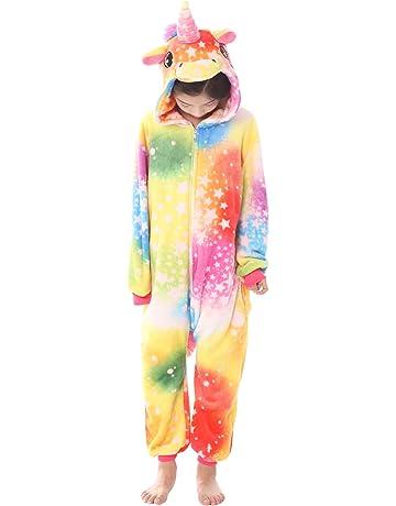 f0c4f50811eb Dolamen Enfant Kigurumi Combinaison Pyjama Onesies, Fille Garçon Fleece  Anime Cosplay Halloween Noël Fête Costume