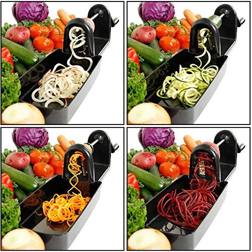 U.S. Kitchen Supply Spiral Master EZ Vegetable Cutter with 5 Versatile Stainless Steel Slicer Blades - Compact, Durable - Make Spiral Veggie Pasta, Spaghetti - Cut Fruit by U.S. Kitchen Supply (Image #4)