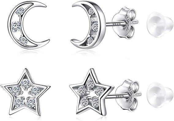 ; Moon Star; Two /& Three Bead Ball for Teenager Girls Women Men XO 2 Pair Sterling Silver Stud Earrings Cross Circle