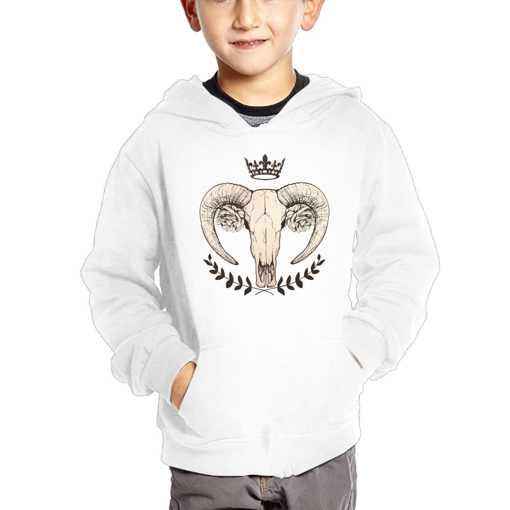 Anutknow Goat Skull With Roses Leaves and A Crown Childrens Fashion Casual Hooded Pocket Sweater