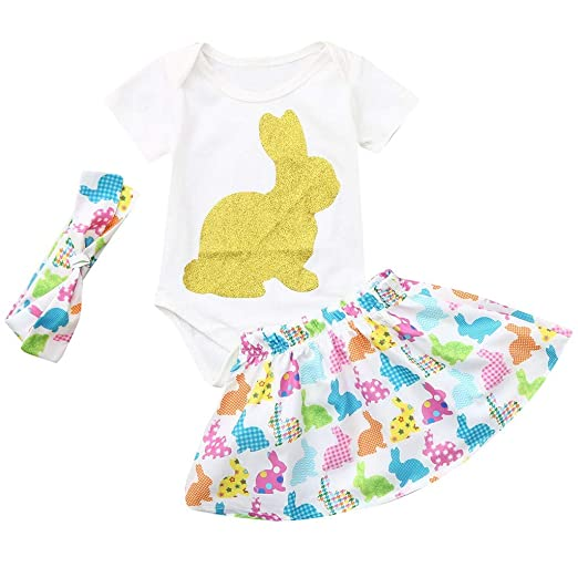 266734529 Amazon.com: Baby Girls 3pcs Short Sleeves My 1st Easter Outfit Bunny Eggs  Romper Bodysuit Princess Party Tutu Dress Set: Clothing