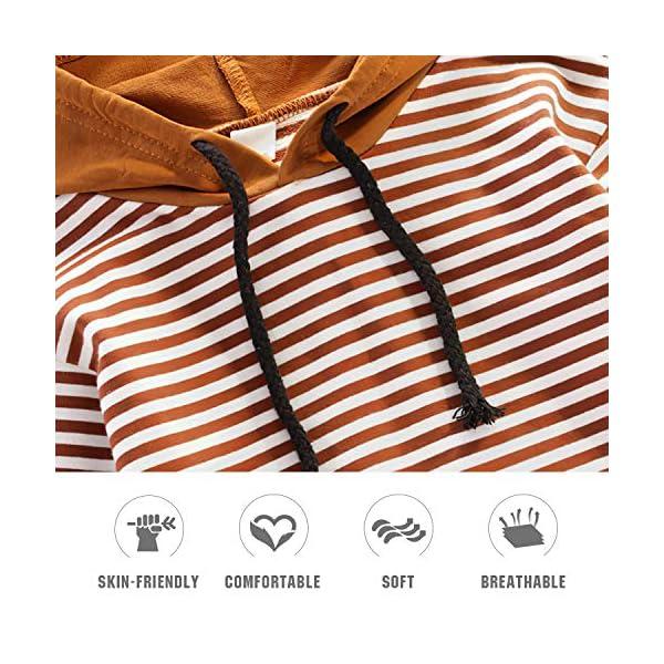 Nwada Abbigliamento Bambino Completi e Coordinati Tuta Sportivi Vestiti a Righe Set Camicia con Cappuccio e Pantaloni 6