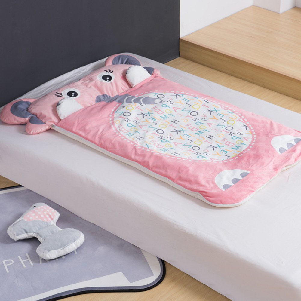 Cartoon Elephant Children Sleeping Bag - Pure Cotton AB Side Healthy Anti-kicking Quilt Baby Kindergarten Camping 55 X 31 Inch Christmas Gifts Pink