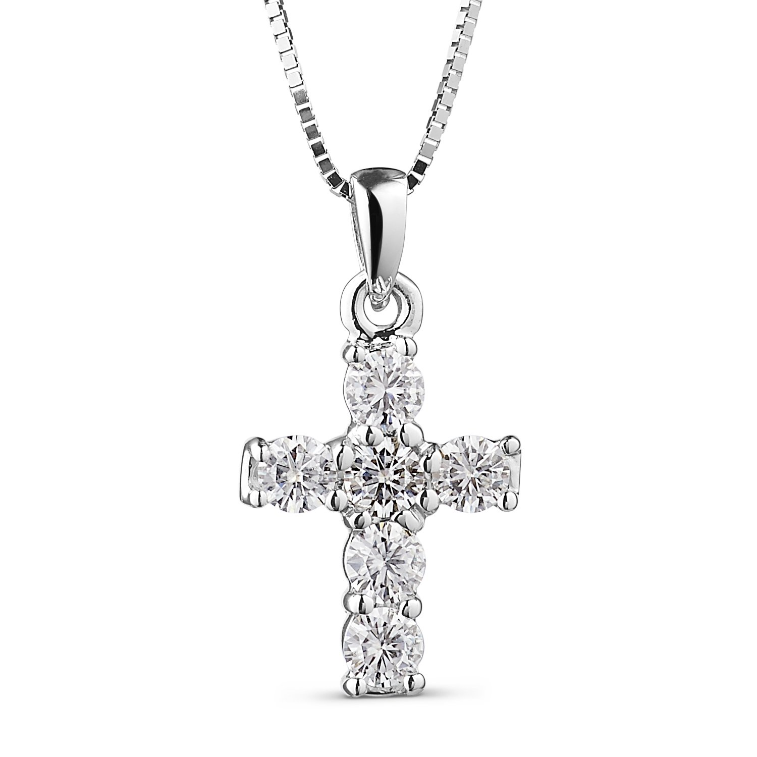 Round Brilliant Cut 2.5mm Moissanite Cross Pendant Necklace, 0.36cttw DEW By Charles & Colvard by Charles & Colvard