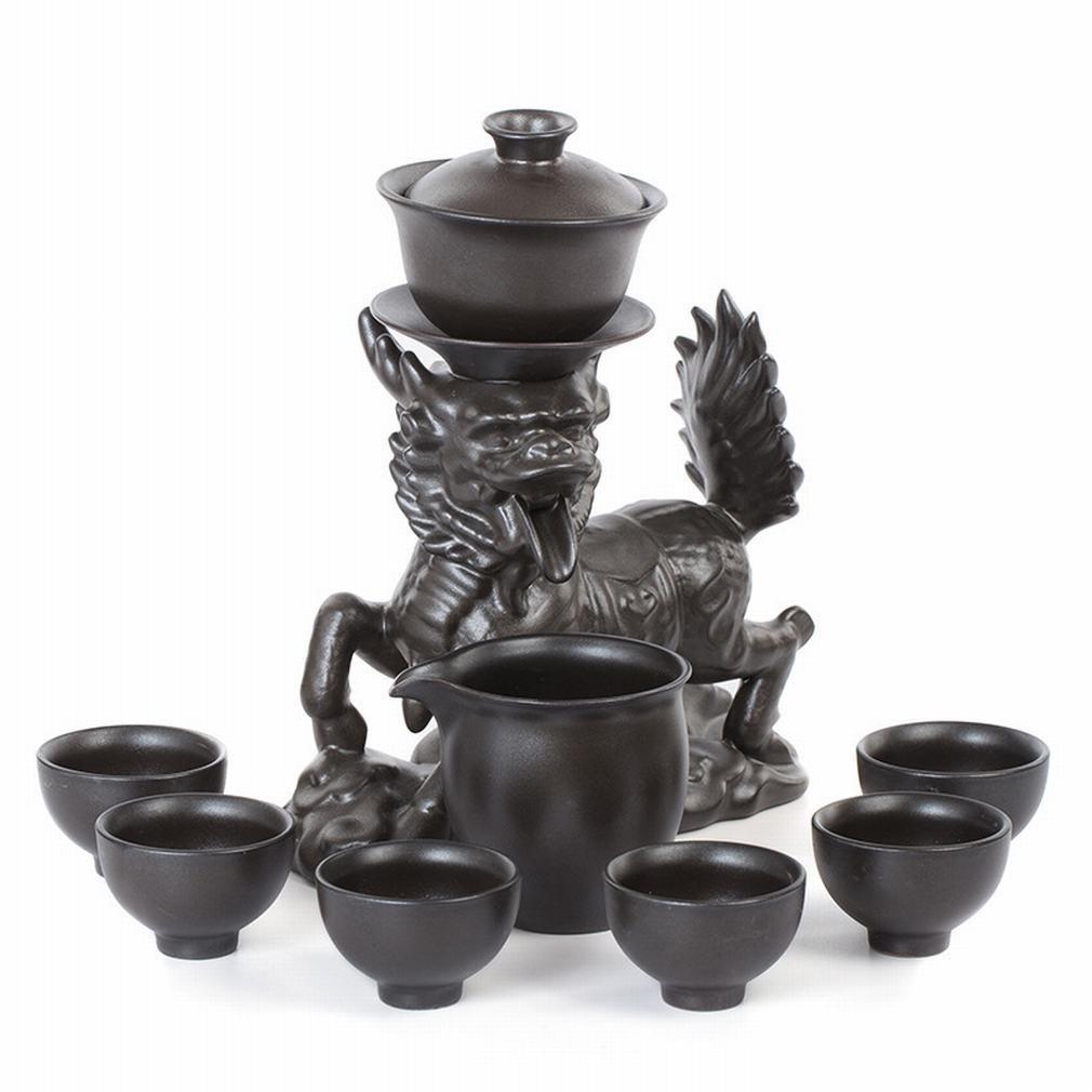 L Y Retro Steingut Automatische Kungfu Tee-Set Weiß Porzellan Kreative Retro-Tee-Set Keramik Filter Tee-Hersteller