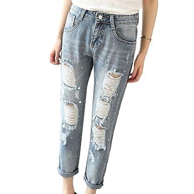 95feed2e032 Femme Jeans Stretch Skinny Pantalon de Crayon Mode Perle Décoration Trou  Brisé Denim Pantalons Jegging Taille Haute Slim Décontractée Pantalons  Petits ...