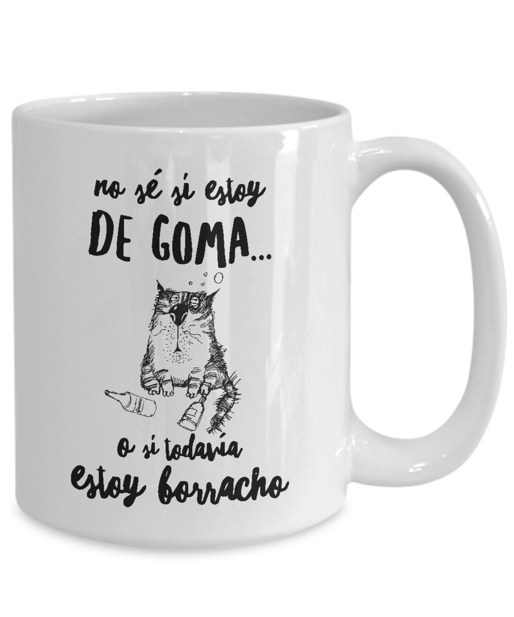 Amazon.com: Taza de Cafe Chistosa de Gato ; Mug in Spanish ; Humor Latino Gift ; Wake up Drunk: Kitchen & Dining