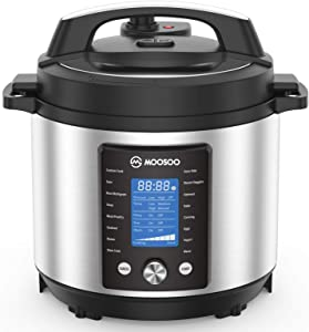 MOOSOO Pressure Pot Max, 15-in-1 Instant Electric Pressure Cooker with Max 15PSI Pressure, 6 Quart, Perfect for Canning
