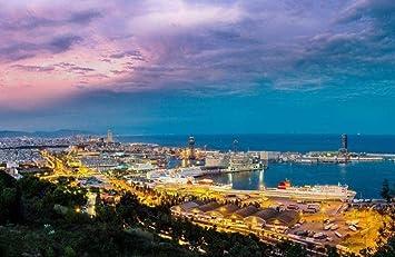 ChenKeai Herramientas de Dibujo para niños en el Puerto de Barcelona, España, basadas en la cantidad de Pinturas de paisajes, lienzos, adecuadas para Principiantes.-with Frame-40x50cm: Amazon.es: Juguetes y juegos