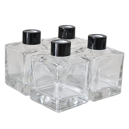 Ougual Juego de 4 botellas de difusor cuadradas de cristal de 9,6 cm de