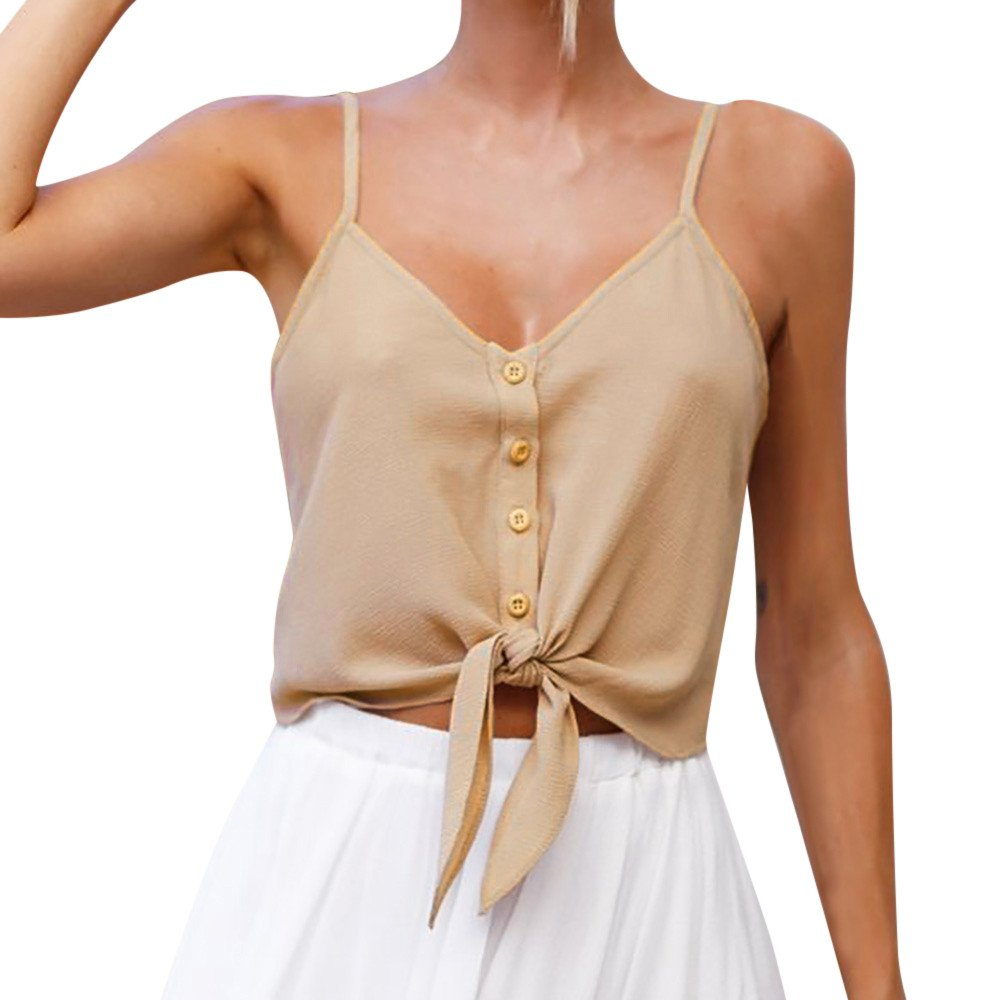 Respctful✿Summer Crop Top and Shorts Sleeveless Front on Ribbed Short Cami Top Juniors Crop Tops Khaki