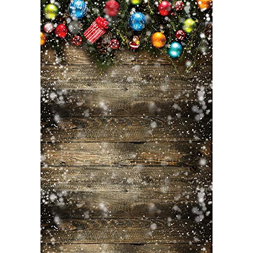 - YongFoto 3x5ft Christmas Backdrop Christmas Ball Wooden Wall Photography Background Snowflake Party Events Banner Interior Decoration Kids Adult Portrait Photo Booth Studio Props Wallpaper