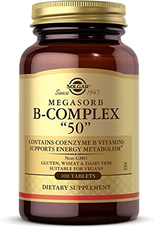 Solgar® Megasorb Vitamina B-Complex 50 para disminuir el cansancio y la fatiga y aumento del ren...