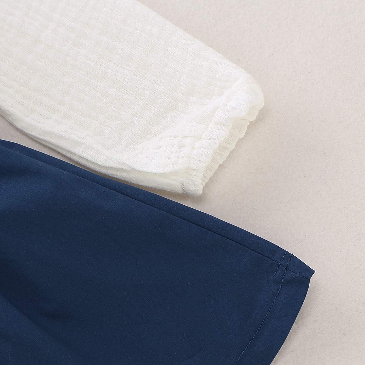 DaMohony Ensemble de v/êtements pour fille en coton et lin /à manches longues avec jupe /à volants 2 pi/èces
