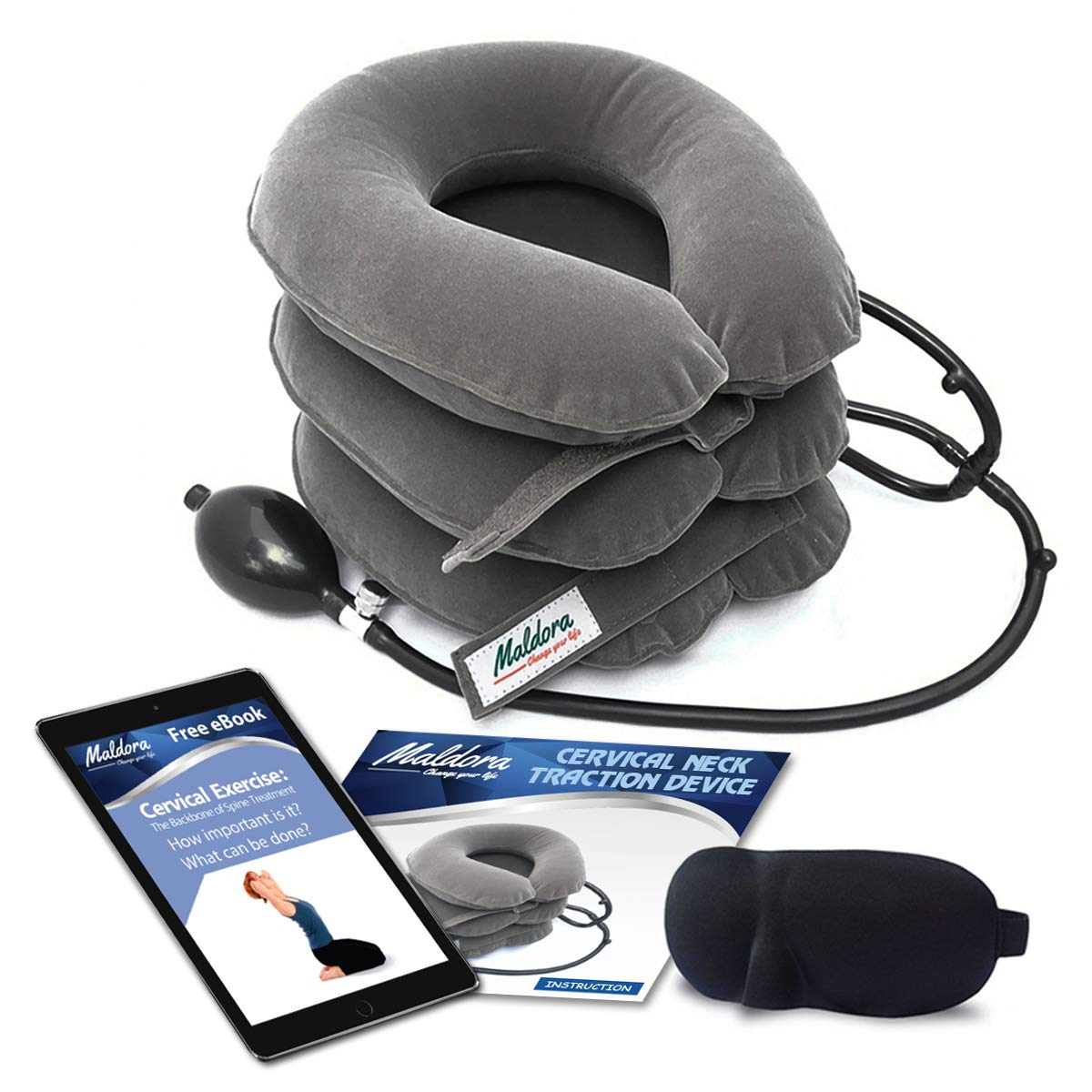 Maldora Cervical Neck Traction Device FDA Registered ✮ Inflatable Pillow Effective and Instant Relief for Chronic Neck & Shoulder Pain with Adjustable Size (Grey) ✮ Bonus Sleep Mask