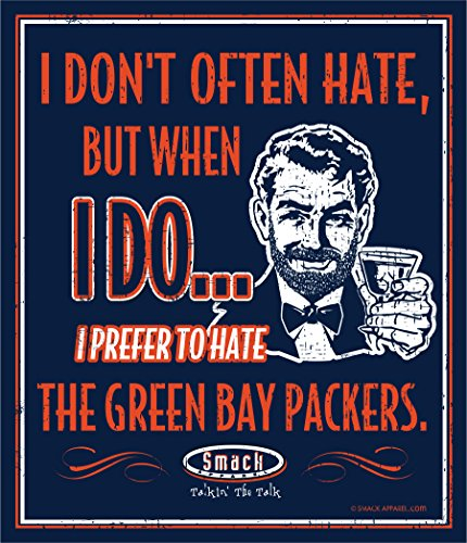 Smack Apparel Chicago Football Fans. I Prefer to Hate The Green Bay Packers 12'' X 14'' Metal Man Cave Sign