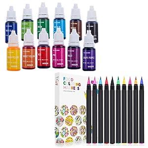 Nomeca 12 Color Liquid Food Coloring + 10Pcs Food Coloring Marker Pens Set for Cake Decorating Icing Fondant Cookies Coloring Painting