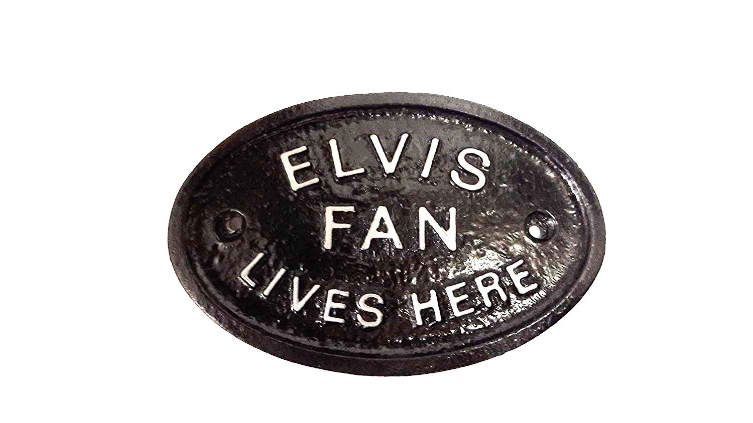 SilverElvis Fan Lives Here Wall or Fence Garden Plaque/Sign with Silver Raised Lettering Home Works