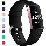 Zekapu For Fitbit Charge 3 Strap, Adjustable Classic Replacement Wristband with Classic Aluminum Alloy Buckle Compatible for Fitbit Charge 3 Activity Tracker, Large Small, 12 Colours