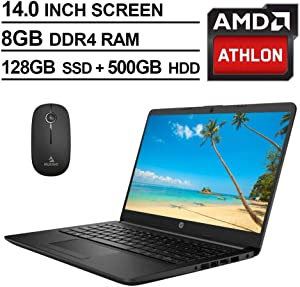 2020 Newest HP 14 Inch Premium Laptop, AMD Athlon Silver 3050U up to 3.2 GHz, 8GB RAM, 128GB SSD (Boot) + 500GB HDD, Bluetooth, Webcam, Win10 S, Black + NexiGo Wireless Mouse Bundle