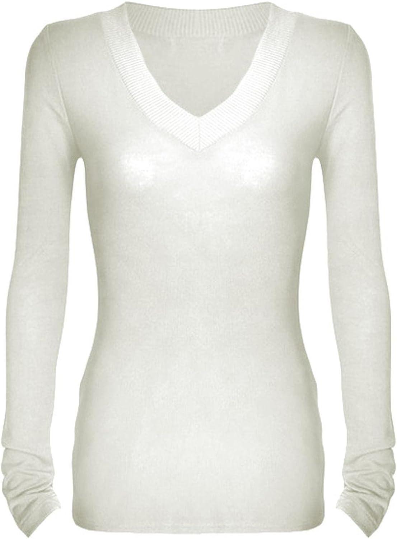 G2 Chic básica de la mujer cuello de pico manga larga jersey térmico Knit Tee - Blanco - : Amazon.es: Ropa y accesorios