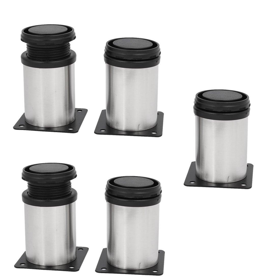 uxcell Kitchen Furniture Cabinet 50mm x 80mm Adjustable Feet Leg Round Stand 5PCS