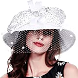 FORBUSITE Stripe Ribbon Asymmetry Church Derby Dress Hat S608 (SD706-White)