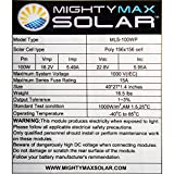 100 Watts 100W Solar Panel 12V - 18V Poly Off Grid Battery Charger for RV - Mighty Max Battery brand product