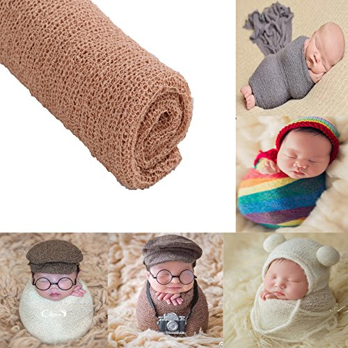 - Newborn Baby Photography Shoot Props Outfits Baby Scarf Luxury Stretch Wrap Yarn Cloth Blanket Photo Props (Camel)